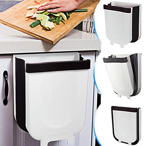 TTMOW Cubos de Basura Plegable Colgando para la Cocina, Coche 9L Blanco