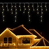 JnDee™ Safe Voltage Fully Weatherproof Icicle Christmas Fairy Lights Warm White 400 LED 10M Wide 80 Drops Plus a Massive 10M Lead Cable, 8 Modes, Low Safe Voltage