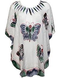 Kaftan Blanc Cinq Papillons Peint Main JK-1972