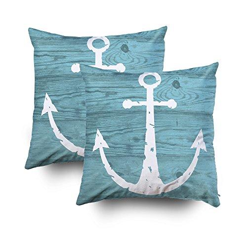 Capsceoll - 2 Fundas de Almohada Decorativas de Madera de Anclaje Náutico, 40 x 40 cm, para Decoración del hogar, Fundas de Almohada con Cremallera, Funda de Cojín con Palabras para sofá con Gusano