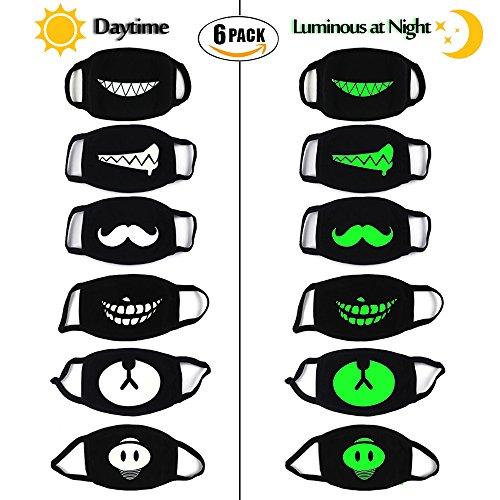 lle Motten-Maske, Leuchtend Unisex Anti Staub Wind Gesicht Maske, Glühen in der (Niedliche Halloween Gesichter)