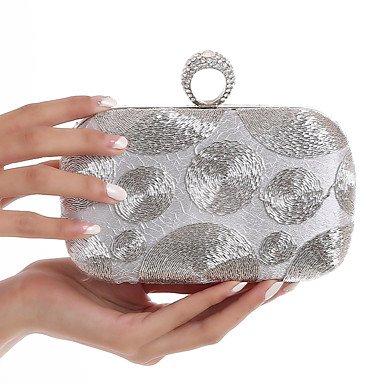 Woman Fashion Diamanten die Stickerei Abend Tasche White