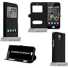 Campus Telecom® Funda, carcasa Negra con ventana doble, Ultra Slim, para Wiko U-Feel Lite 4G
