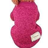 Ropa para mascotas,RETUROM Ropa de abrigo suéter de lana caliente para mascotas cachorro de perro (Rosa caliente, S)