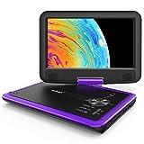 """ieGeek 11.5"""" Lettore DVD portatile con lo schermo girevole a 360° per protezione occhi LCD, batteria ricaricabile potenziata di 5 ore, riproduzione memoria supportata, riproduzione loop, Viola"""
