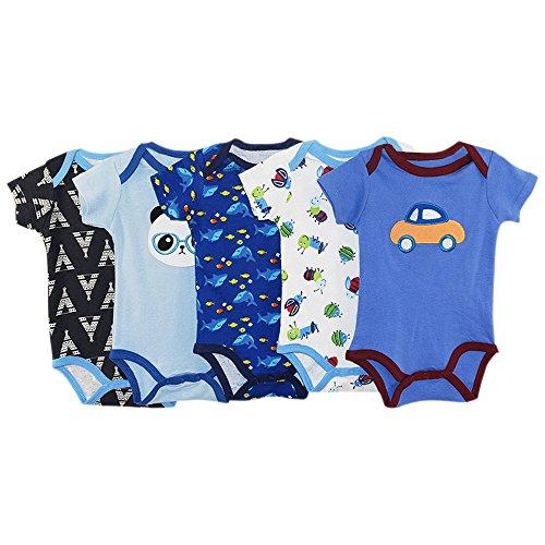 BOZEVON Set (5pcs) Baby Strampler 100% Baumwolle Babystrampler kurze Ärmel Nachtwäsche Strampelanzug Junge Mädchen