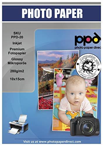 PPD Inkjet 280 g/m2 Hochglanz Fotopapier Mikroporös Sofort Trocknend und Wasserfest - Profiqualität - 10x15cm x 100 Stück PPD-20-100