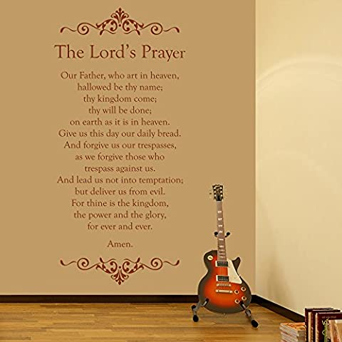 The Lords Prayer Embellished Christian Religious Wall Stickers Home Art Decals available in 5 Sizes and 25 Colours Large Gold Metallic