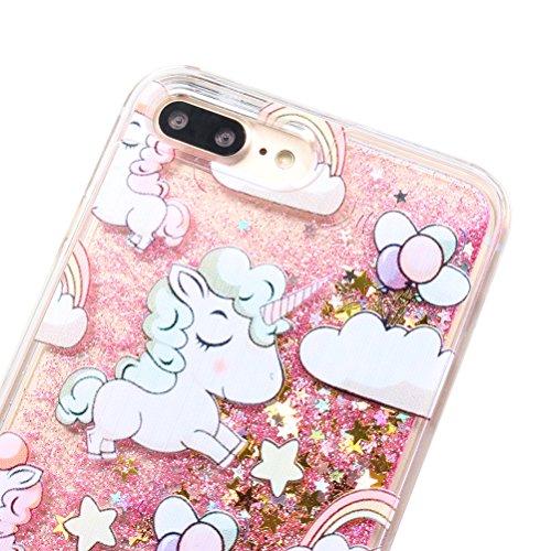 Cover per iPhone 6Plus (5.5), iPhone 7Plus Glitzer flüssig Hülle, edaroo Cute Lovely Cartoon Baby Einhorn Regenbogen Sterne Muster Kreativ flüssigkeit Klar Handytasche glänzend schwimmend glitterata Pink