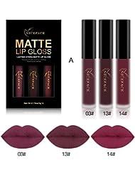 Malloom 3PCS Imperméable à L'Eau Liquide Mat Rouge à Lèvres Kit Cosmétique Pour Lèvres Sexy (3pcs, A)