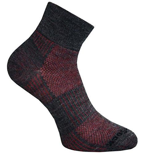Merino Wolle Quarter Socken (Wrightsock Sportsocke grau rot mittellang Quarter Coolmesh II Merino Wolle -anti-blasen Gr.XL)