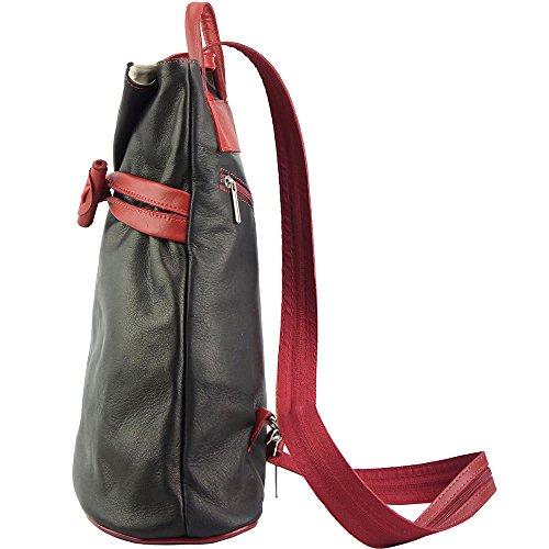 Rucksack-Tasche und Schultertasche Fiorella mit vielen Taschen aus echtem Leder aus Italien Schwarz/Rot