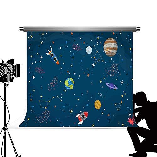 Kate Grau-blau Cartoon Weltraum Fotografie Hintergrund 2,2 * 1,5 mt Nette Kleine Wissenschaftler Thema Foto Hintergrund Verwendet für Kinder Geburtstag Fotografie Videoaufnahmen Dekoration