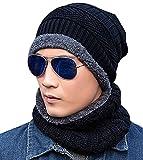Bonnet Hiver Chapeau Beanie Écharpe Tour de Cou Doublure Polaire Tricot pour Homme Femme Unisexe Chaude Simple Noir