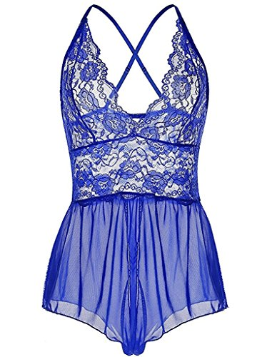 Vilania Dessous Babydoll Sexy Perspektive Reizwäsche Damen Spitze Nachthemd Tief V Negligge Teddy Lingerie Blau,UK-TXZ9034-Blue-L (Blue Baby Lingerie)