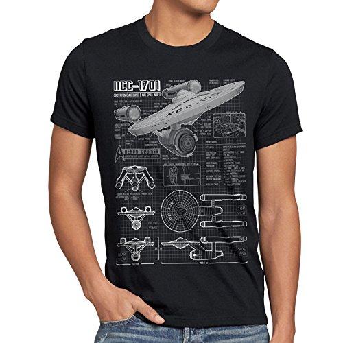 style3 NCC-1701 Blaupause T-Shirt Herren christopher pike trek trekkie star, Größe:XXL;Farbe:Schwarz (Jeans Premium Big Star)