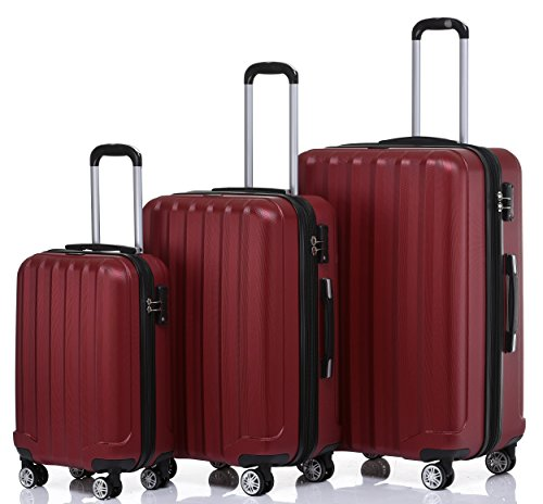 TSA-Schloß 2080 Hangepäck Zwillingsrollen neu Reisekoffer Koffer Trolley Hartschale XL-L-M(Boardcase) in 12 Farben (Weinrot, Set)