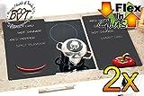 Grill-, Wand- & Herdabdeckplatten ca. 0,8 cm HOCH, 2-tlg. Set Chili anthrazit, Design glatt mit Beschriftung, Herdabdeckung + Spritzschutz Glas, Herdblende,Herdabdeckplatte für Elektroherd Kochfeld-Abdeckplatte - auch als Grill-Schneidebrett Maße viereckig je ca. 52 cm x 30 cm x 0,8 cm - Herdplatten Abdeckung Schneidbretter Glaskeramik Kochfelder Kochplatten, Herdset einzeln doppel doppelt rund, Kinderschutz für Herdfeld Herdglas Ofen Backofen, Herdzubehör, Kochfeldplatte