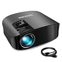 "Projector, GooDee Upgraded 3600 Lumens Video Projector 200"" HD LCD Home Cinema Projector Support 1080P HDMI VGA AV USB MicroSD for Home Entertainment, Party and Games"