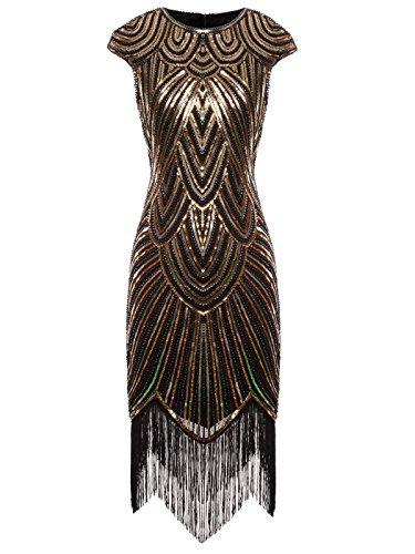 (FAIRY COUPLE 1920 Pailletten verschönert Quasten Falten Flapper Kleid D20S002(S,Schwarz Gold))