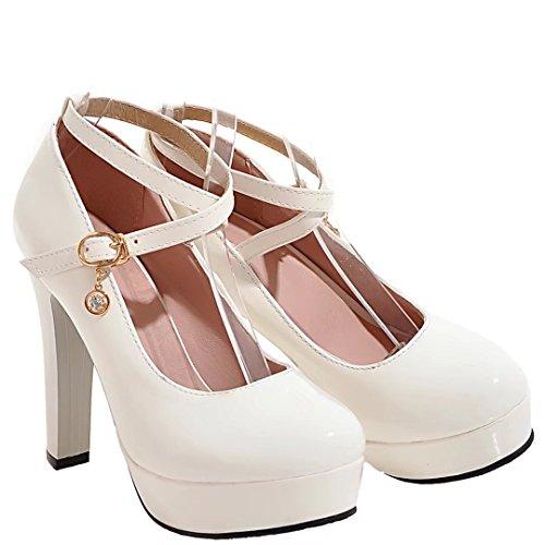 Aiyoumei Ankle Strap Femme Blanc