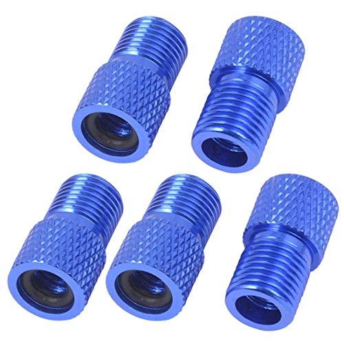 Sungpunet 5 Stück Fahrradschlauch Pumpe Blau Aluminiumlegierung Ventil Adapter Konverter