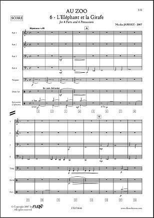 Descargar Libro PARTITURA CLASICA - Au ZOO - No. 6 - L'Eléphant et la Girafe - N. JARRIGE - Wind Band de Unknown