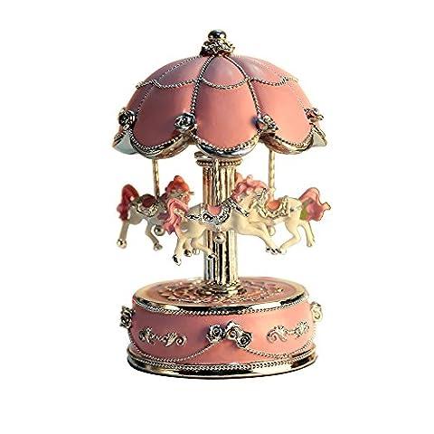 Grande taille Changement de couleur lumière LED Lumineux rotatif Carrousel Cheval Boîte à musique avec musique du château dans le ciel Couleur Rose