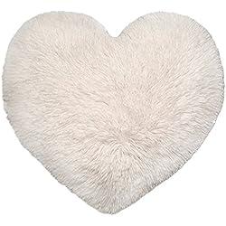Lanuda Corazón Cojín aprox. 50cm x 50cm Corazón almohada sofá Manta Decoración Teddy flojel Peluche, poliéster, blanco, ca. 50cm