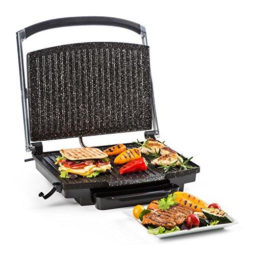 Klarstein edelstein griglia a contatto  piastra panini  tostapane  tostiera  2000 watt  temperatura regolabile fino a 240 °c  rivestimento antiaderente  spatola con scanalature inclusa  led controllo temperatura  nero