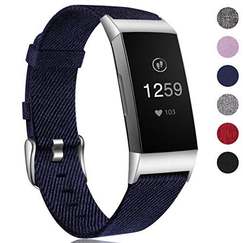 HUMENN Armband für Fitbit Charge 3 Woven Armbänd, Ersatzband Gewebte Stoff Armbands Zubehör Sport Armbänder für Fitbit Charge 3, Groß Blau Großes Armband