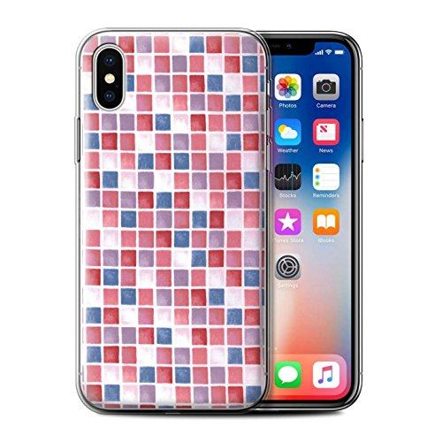 Stuff4 Gel TPU Hülle / Case für Apple iPhone X/10 / Blau/Türkis Muster / Bad Fliesen Kollektion Rot/Blau
