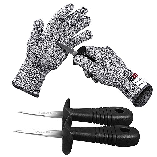 AmHoo Austernmesser Austernöffner mit Schnittschutzhandschuhe Set, aus Edelstahl, Schalentiere Öffner, Auster Brecher Messer (1 Paar Handschuhe + 2 Messer)(L)