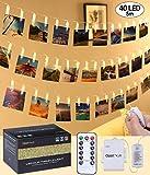 qoolivin recargable con clip para fotos guirnalda de luces LED 5 m, 40 luces Clip