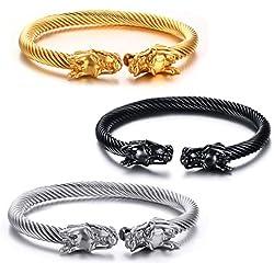Vnox Hombres de acero inoxidable frente a la cabeza de dragón de alambre Viking brazalete de brazalete pulsera de plata de oro negro,paquete de 3