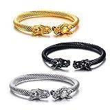 Vnox Uomo Acciaio Di fronte Dragon Head Wire vichingo polsino del braccialetto d'argento oro nero,confezione da 3