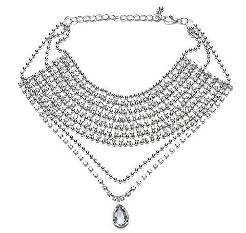 aux femmes mode Diamant complet alliage Collier de collier Personnalité Collier Clavicule Vêtements & Accessoires , silver