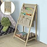 SoBuy FRG276-N Kinder-Bücherregal klappbar Zeitungsständer mit 3 Ablagefächern und 3 Taschen klappbar, BHT ca.: 60x75x16cm