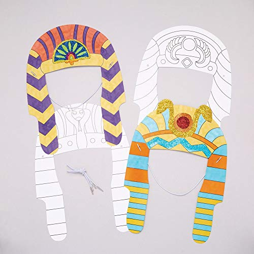 Baker Ross Pharaonen-Kopfschmuck zum Ausmalen (8 Stück) - für Kinder zum Verzieren und Verkleiden