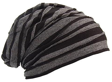 Cool4 Vintage 2 Farben Beanie Stripes Schwarz-Anthrazit Slouch Retro Stylisch Mütze Cap Hut VSB26