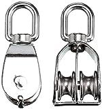 WINOMO 2st doppelten Flaschenzug Seilrolle Edelstahl 304 doppelte Riemenscheibe Wirbelblock