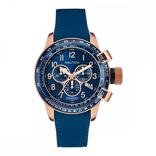 NAUTICA MEN'S 46MM BLUE SILICONE BAND ROSE GOLD IP CASE QUARTZ WATCH NAI28500G