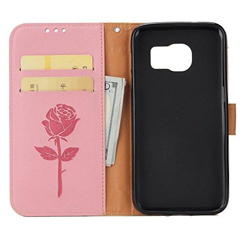 Gemischte Farben Rose Blume matt Premium PU Leder Brieftasche Stand Case Cover mit Lanyard & Card Slots für Samsung Galaxy S7 Edge ( Color : White ) Pink