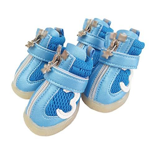 Kuncg Paw Protector Perro Mascota Botas Malla Protectora Antideslizante Transpirable Deportes Al Aire Libre Cachorro Zapatos Azul 3