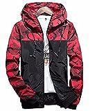 Qingxian Herren Frühling Herbst Jacke Trenchcoat Camouflage Slim Jacke Männer Hoodies Jacke (S, Rot)