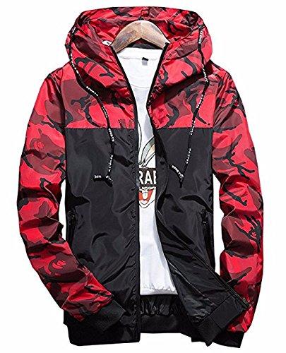 Qingxian Herren Frühling Herbst Jacke Trenchcoat Camouflage Slim Jacke Männer Hoodies Jacke (M, Rot)