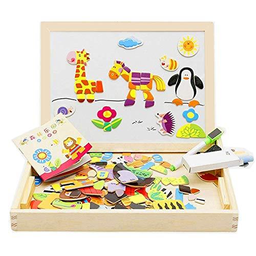 Lewo Magnetisches Holzpuzzle Staffelei Tierformen Holzbrett Puzzle aus Holz Doppelseitiges Tafel Holzspielzeug pädagogisches Lernspielzeug für Baby Kleinkinder ab 3 Jahre