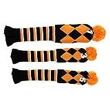 D DOLITY 3 Stück Golf Headcover Schlägerhaube Schlägerkopfhülle Holz Kopfbedeckungen Orange