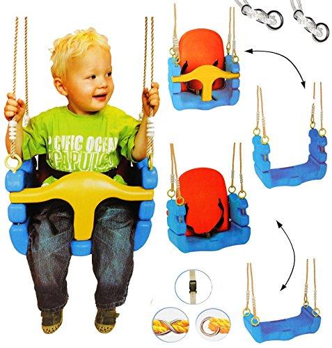 mitwachsende - Babyschaukel / Gitterschaukel mit Gurt - Kinderschaukel ab 1,5 Jahre - mit Rückenlehne & Seitenschutz - Schaukel für Kinder - Innen und Außen / Garten - für Baby´s Kinder aus Kunststoff / Plastik - Kunststoffschaukel verstellbar - Kleinkindschaukel mitwachsend - Mitwachsschaukel bunt - Sicherheitsgurt - für Innen und Außen