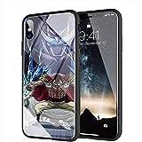 yinzongstore iPhone X Coque, iPhone XS Coque, Pare-Choc Souple en Silicone avec Coque arrière en Verre trempé Compatible avec iPhone X/XS AMA-83 One Piece Shanks Whitebeard